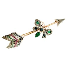 Diamonds,Rubies,Emeralds,Sapphires, Rose and Silver Gold, Arrow Brooch