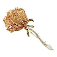 Diamonds, Sapphires, Tsavorite, Rose Gold and Silver Brooch