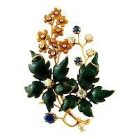 Sapphires, Diamonds, 14k yellow gold and enamel