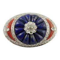 Lapis Lazuli, Coral, Diamonds, 14k White Gold, Vintage Brooch