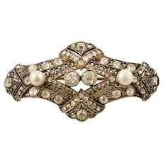 Diamonds, Pearls, 18k Yellow gold and Silver Retro Brooch