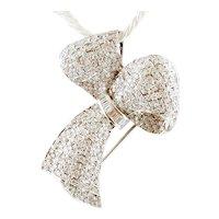 5ct Diamonds, 18k White Gold, Ribbon Brooch