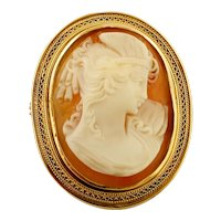 Cameo Brooch, 18k Yellow Gold