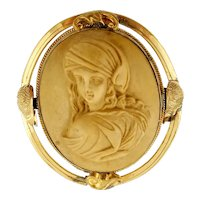 Antique Cameo Brooch, Yellow Gold