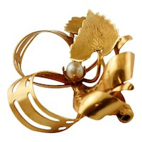 18k Yellow Gold and Pearl, Vintage Brooch