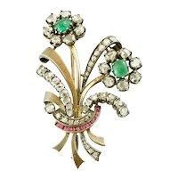 Diamonds, Emeralds, Rubies, 18k Gold and Silver Retro Brooch