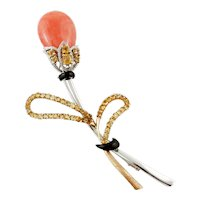 Coral, Diamonds, Onyx, Topazes, Yellow and White Gold Retro Brooch