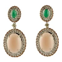 Handcrafted Earrings Diamonds, Emeralds, Oval Shape Pink Coral, 14 Karat Rose and White