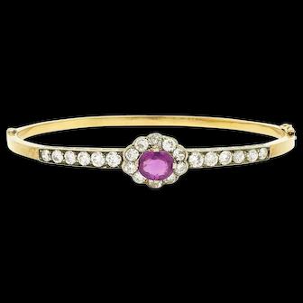 Victorian Pink Sapphire and Diamond Bangle
