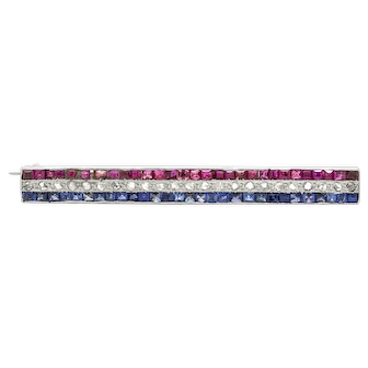 Edwardian Ruby, Diamond and Sapphire Line Brooch