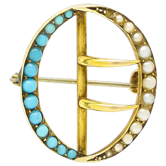 Victorian Seed Pearl and Turquoise Buckle Brooch