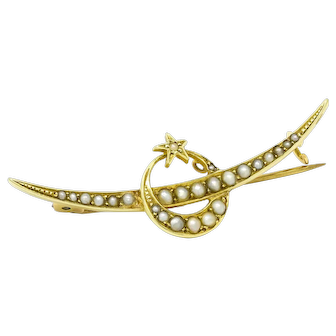 Victorian Crescent and Star Seed Pearl Brooch