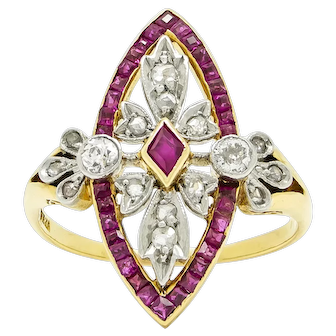 Edwardian Diamond and Ruby Navette Ring