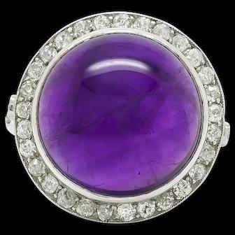 Edwardian Cabochon Amethyst & Diamond Cocktail Ring