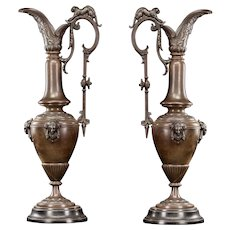 """Pair of French Antique Urns / Amphora Vases Bronzed Metal 