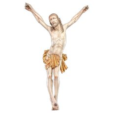 "Corpus Christi Wooden Sculpture | Antique Jesus Christ Carved Wood Statue Crucifix Cross | 22"" Large"