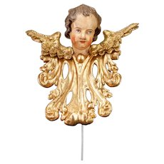 Angel Sculpture | Antique 1700's Cherub / Putto / Amorino / Amoretto Wood Carving Statue