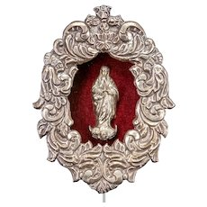 """Antique Assumption of Mary Sterling Silver Icon 
