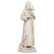 "St Francis of Assisi Antique Pipe Clay Statue | Religious Figure | 16"" Large"