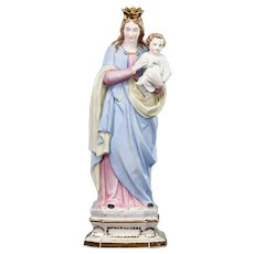 "Antique Virgin Mary with Child Christ Porcelain Statue | Madonna with Baby Jesus Bisque Figure | 15"" Large"