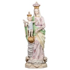 """Antique Virgin Mary Our Lady of Victories Porcelain Statue   Child Jesus Madonna Victory   ND of the Rosary   15"""" Large"""