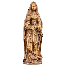 "St Mary Magdalene Wooden Sculpture | Saint of Magdala Wood Carving Statue | 12"" Large"