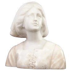 "Joan of Arc Carved Marble / Alabaster Antique Sculpture | Jeanne d Arc Statue | 11"" Large"