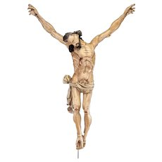 "Antique Corpus Christi Wood Sculpture | 17th Century Jesus Christ Wooden Statue Crucifix Cross | 31"" Large"