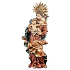 "Virgin Mary with Child Jesus Antique Wooden Sculpture | Madonna with Baby Christ Wood Carving Statue | 20"" Large"