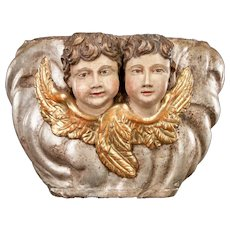 "Pair of Antique Wooden Angels Sculpture | Cherubs / Putti / Amorini / Amoretti 1700s Church Wood Carving Corbel | 15"" Large"