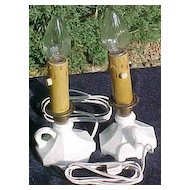 Milk Glass Finger Lamps Houze Glass Vintage (2)