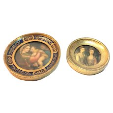 Genuine 14k Gold Leaf Florentine Vintage Hand-Carved Hand-Painted Frames. Set of Miniature Framed Prints. Made in Italy