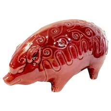 Vintage Bevan Kilns Burgundy Pottery Pig Hors d Oeuvres Toothpick Holder California 7.5""