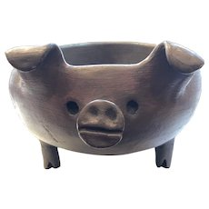 Large Pomaireware Clay Pig. Chilean Baking Serving Dish.