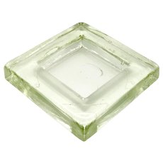 Vintage Mid-Century Ashtray Square Thick Glass