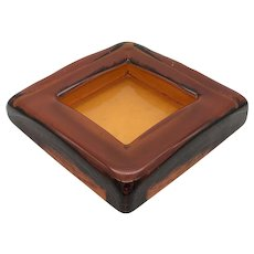 Vintage Amber Mid-Century Ashtray Square Thick Glass