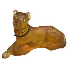 Rottweiler Dog Figurine Faberge Copy Glass Amber