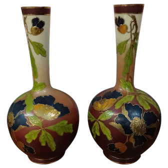 Fabulous Pair of Satin Vases