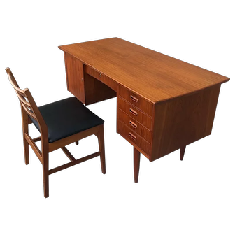 Mid Century Modern Teak Desk & Chair