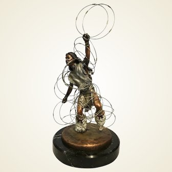 C.A. Pardell Legends 'HOOP DANCER' Bronze Mixed Metal Sculpture