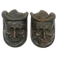 Pair Antique Carved Wood Heads French Misericord Gargoyle Sculpture Gothic Revival