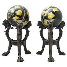 Pair Tripod Bronze Stands with Chimera and Balls painted Ivy
