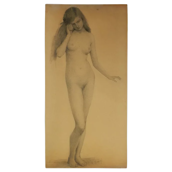 Nude Young Woman With Seashell Pencil Drawing By Rogisse De Leliva c1890