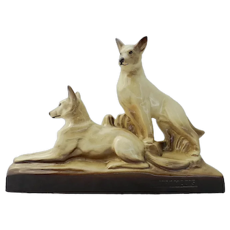 Art Deco Dogs Ceramic German Shepherds French Figure Signed L Francois c1930