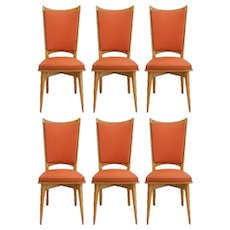Six Midcentury French Dining Chairs c1950-1960 all Original in Good Condition