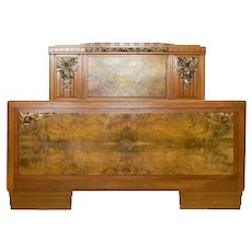 Art Deco Bed French Carved Walnut Sue Et Mare