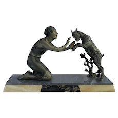 Art Deco Statue Girl And Goat French C1930