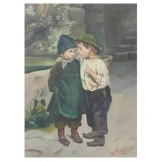 Oil Painting Of Two Children Naive 19th Century Signed