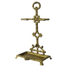 Diminutive Stick Stand Umbrella Cast Iron Faux Bamboo Aesthetic Chinoiserie