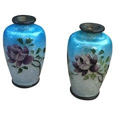 Pair of antique miniature dolls house cloisonné vases